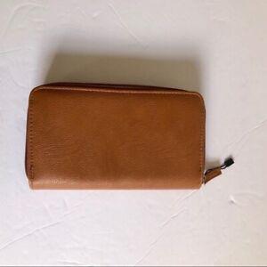 NWOT Brown Vegan Leather Wallet Credit Card License Change Checkbook Holder