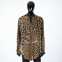 SAINT LAURENT PARIS 1190$ Semi Transparent Silk Shirt With Leopard Print
