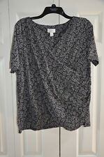 NWT Ann Taylor Loft Maternity Black with White Floral Print Blouse Size Lm