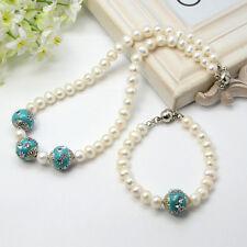 2-teil Collier Set Süßwasser Zuchtperlen 7-8mm Perlen designte Perlen Handarbeit
