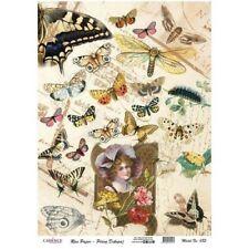 Carta Di Riso 29,5x41 CM Farfalle Vintage Decoupage Collage Lavori con la Carta