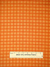 Train Track Check Orange Cotton Fabric Quilting Treasures Buddys Adventure YARD