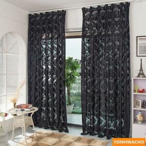 high grade luxury European modern embroidered black sheer curtain tulle N934