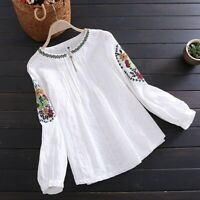 Lady Linen Cotton Embroidery T-shirt Pleated Top Retro Pullover Long Sleeve Soft