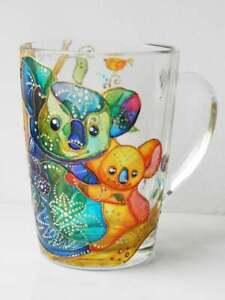 Handmade koala coffee mug, stained glass, painting colorful cup, glass mug