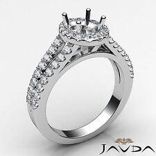 Semi Mount Halo U Cut Prong Setting Platinum Diamond Engagement Oval 0.75Ct Ring