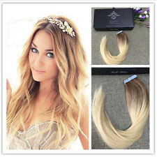 BALAYAGE OMBRE 6/613 TAPE IN REMY HUMAN HAIR EXTENSIONS Brown Blonde Fashion