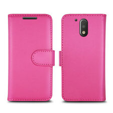 Plain Pink Leather Wallet Book Protect Phone Case for Apple iPhone 4 5 6 7 8 & X Motorola Moto G - X1032