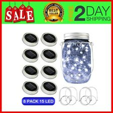 Solar Mason Jar Lights, 8 Pack 15 Led Waterproof Fairy Firefly Lids String With