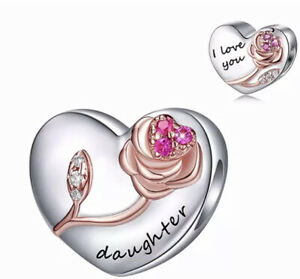 🦋💜 STERLING SILVER 925 DAUGHTER I LOVE YOU DOUBLE SIDED HEART CHARM & POUCH