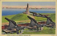 Postcard MD Baltimore Cannon at Historic Fort McHenry 1943