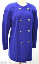 Linda Allard Ellen Tracy VTG Cobalt Blue Womens long Jacket wool Coat Top SZ 12