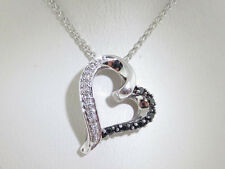 "HANGING HEART Black/White Diamonds Pendant Solid 10k White Gold Necklace 18"""