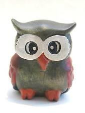 "Wooden Owl Hand Carved And Hand Painted Wood  Home Decor Sculpture 3"" #2644"