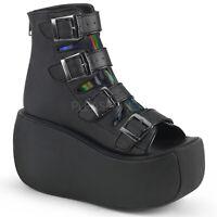 Demonia VIOLET-150 Women's Sexy Black Vegan Leather Hologram Platform Ankle Boot