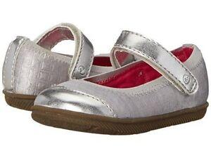 NIB STRIDE RITE Mary Jane Shoes Cecilia Silver Gray 2 M Infant
