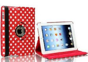 Polka Dot 360° Rotating Smart Stand Case Cover for iPad 6 or AIR 2- RED