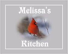 Red Gray Home Decor Kitchen Room Wall Art Photo Print Cardinal Your Name & Mat