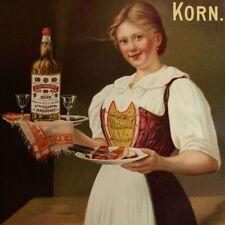 ELMENDÖRFER Antikes Plakat Isselhorst um 1920 TOP Frau mit Schinkenbrot und KORN