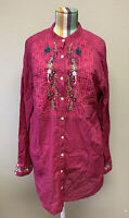 3J Workshop Johnny Was Fuchsia Embroidered Peasant tunic shirt Dress Large