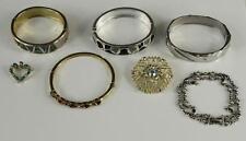 Vintage Costume Jewelry Lot Bracelets & Brooch Pin Rhinestone Paua Shell Enamel