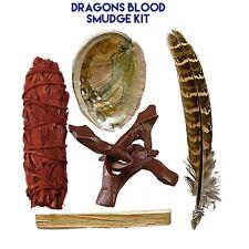 Dragons Blood Smudge Kit Abalone Shell Tripod 2 Sage Stick 2 Palo Santo Feather