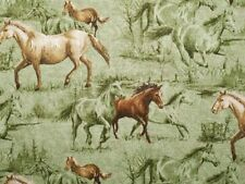 Horse Farm Cotton Fabric Colts Stallions Meadow on Green by Hautman - BTY