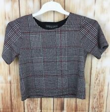 TOPSHOP PEPITE Women's Houndstooth Plaid Checkered Short Sleeve Cropped Top 8