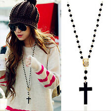 CHIC Fashion Mens Womens Black Rosary Bead Long Sweater Cross Pendant Necklace