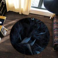 3D Black Feather 6 Non Slip Rug Mat Room Mat Round Elegant Photo Carpet AU