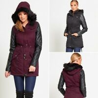 WOMENS OLIVIA LEATHER SLEEVE FISHTAIL FUR HOOD PARKA