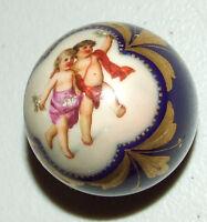 Antique 1800's Meissen Hand Painted Porcelain Walking Stick Cane Parasol Handle