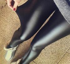 Fashion Sexy Ladies Low Waist Wet Look Faux Imitation Leather Leggings Pants Hot