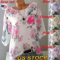 Womens Crew Neck Floral Summer Tops Ladies Loose Casual Blouse Tee T Shirt NEW