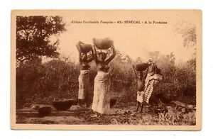 SENEGAL, AFRICA, CHILD & 2 SEMI-NUDE WOMEN, WATER BOWLS ON THEIR HEADS 1907-20