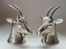 More details for two silvered goat heads
