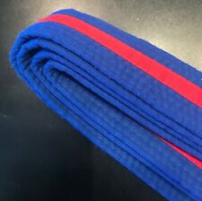 "TKD Taekwondo Karate Martial Arts 1.5"" Wide Double Wrap Stripe Belts Blue / Red"