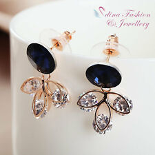 18K Rose Gold GP Made With Swarovski Element Round Cut Leafs Sapphire Earrings