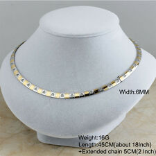 Women's Stainless Steel Gold Fashion Loave Heart Collar Choker Bib Necklaces 6MM