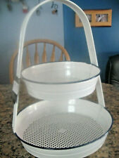 Fruit Basket Server Vegetable Food Bowl Kitchen Countertop Storage Steel 2 Tier