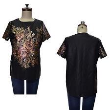 Topshop Floral Hip Length Short Sleeve T-Shirts for Women