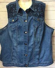 New $50 Avenue Denim Women's Plus 26/28 Sleeveless Jean Vest Floral Embroidery
