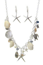 Sea Turtle Starfish Shells Sand Dollar Pearl Beads Necklace Earrings Charm USA