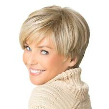 Fashion Short Cut Blond Straight Layered Synthetic Wig Full Hair For Female