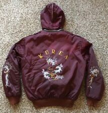 Rear Vintage 50s Korean War Souvenir Red Jacket Hoodie with Dragons Embroidered
