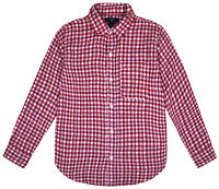 Boys Long Sleeve Shirt Kids New Ex GAP Checked Red T shirt Top Ages 4 - 16 Years