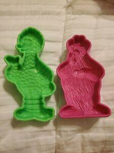 Vintage 1992 Play Doh Sesame Street Molds Big Bird & Cookie Monster Jim Henson