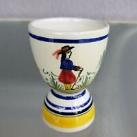 """Henriot Quimper Double Egg Cup Breton Man 3 5/8"""" French Country France"""