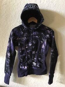 Lululemon Scuba Hoodie Hooded Sweatshirt Black Grape Swan Purple Ink blot 2 ?