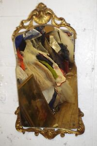 Antique Ornate Gold Wood Carved Shell MIRROR